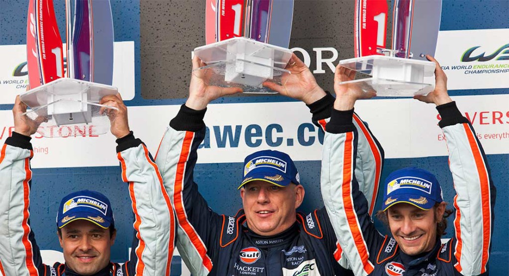Aston Martin Team on Podium at Silverstone