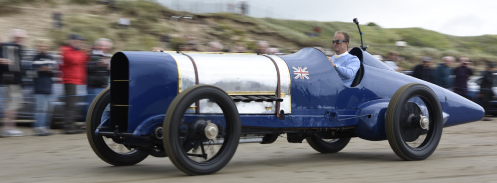 Don Wales at the wheel of 350hp Sunbeam at Pendine 1