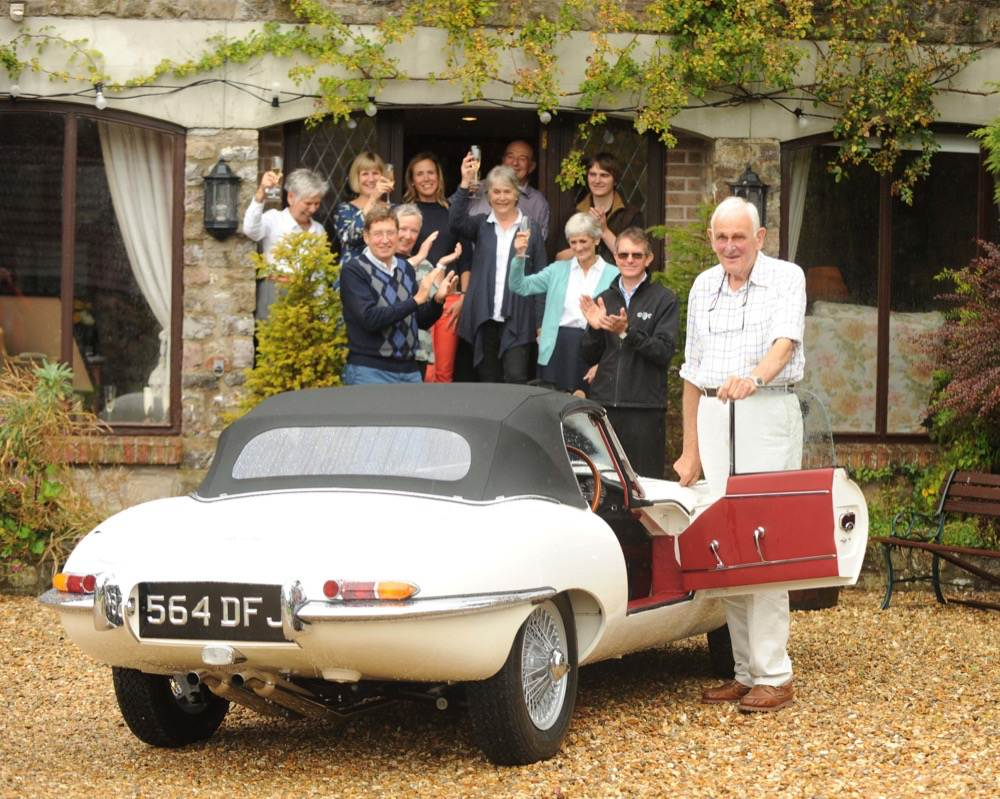 Jaguar E-Type Chassis 60, resterd by CMC, visits his first owner for his 83rd birthday (Photo by Paul Gillis)
