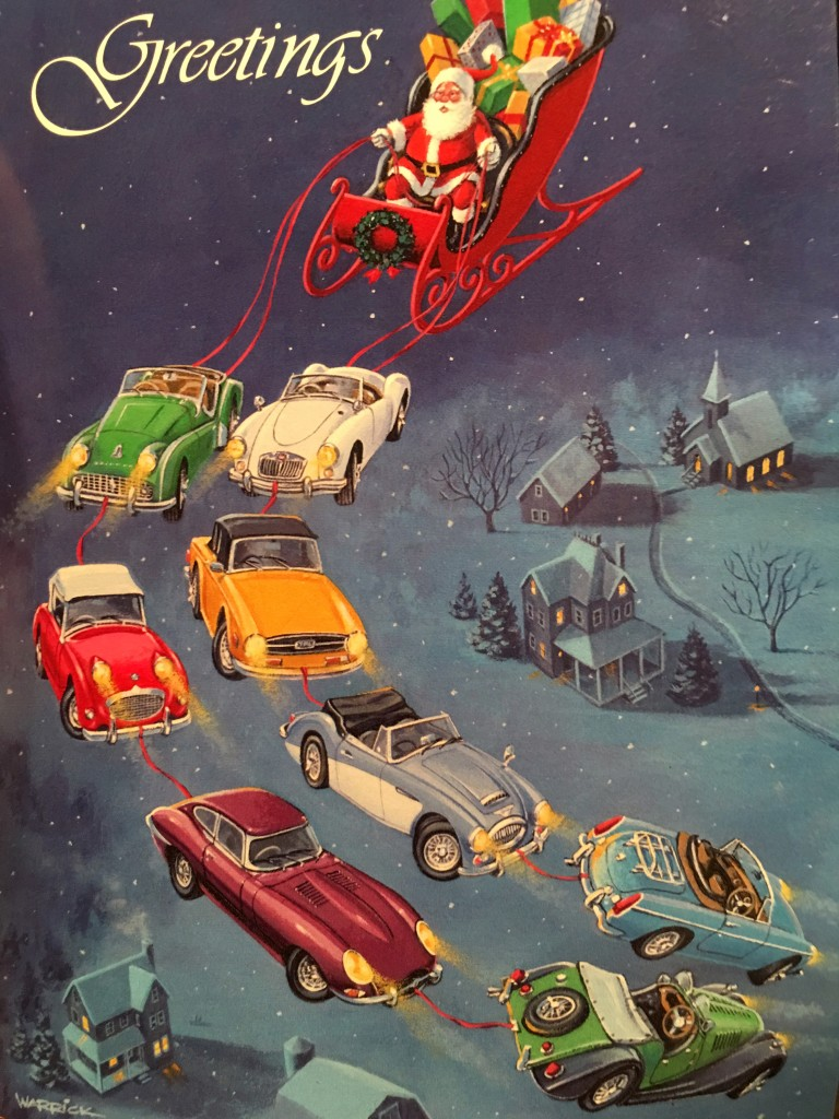 Season's Greetings British Car Style - original card from Driver's Road, Cincinnati, Ohio.