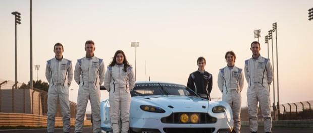 The Aston Martin Racing Evolution Academy Finalists - L to R Ross Gunn, Dan Lloyd, Jamie Chadwick, Devon Modell, Jody Fannin Matt Bell