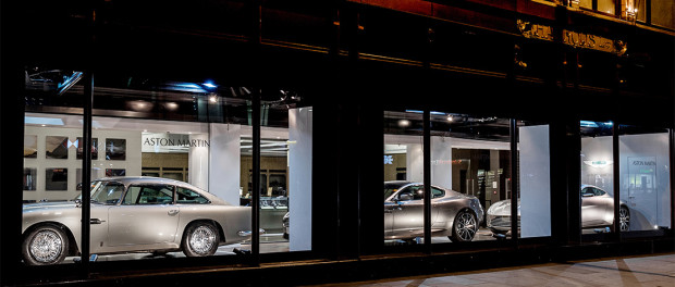 Aston Marin Window shopping at Harrods
