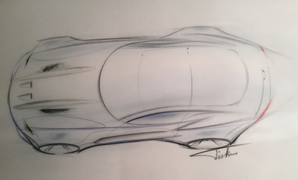Henrik Fisker's initial design rendering for The Force 1, a high-performance automobile debuting on January 12 at 10-05 am at the 2016 North American International Auto Show in Detroit
