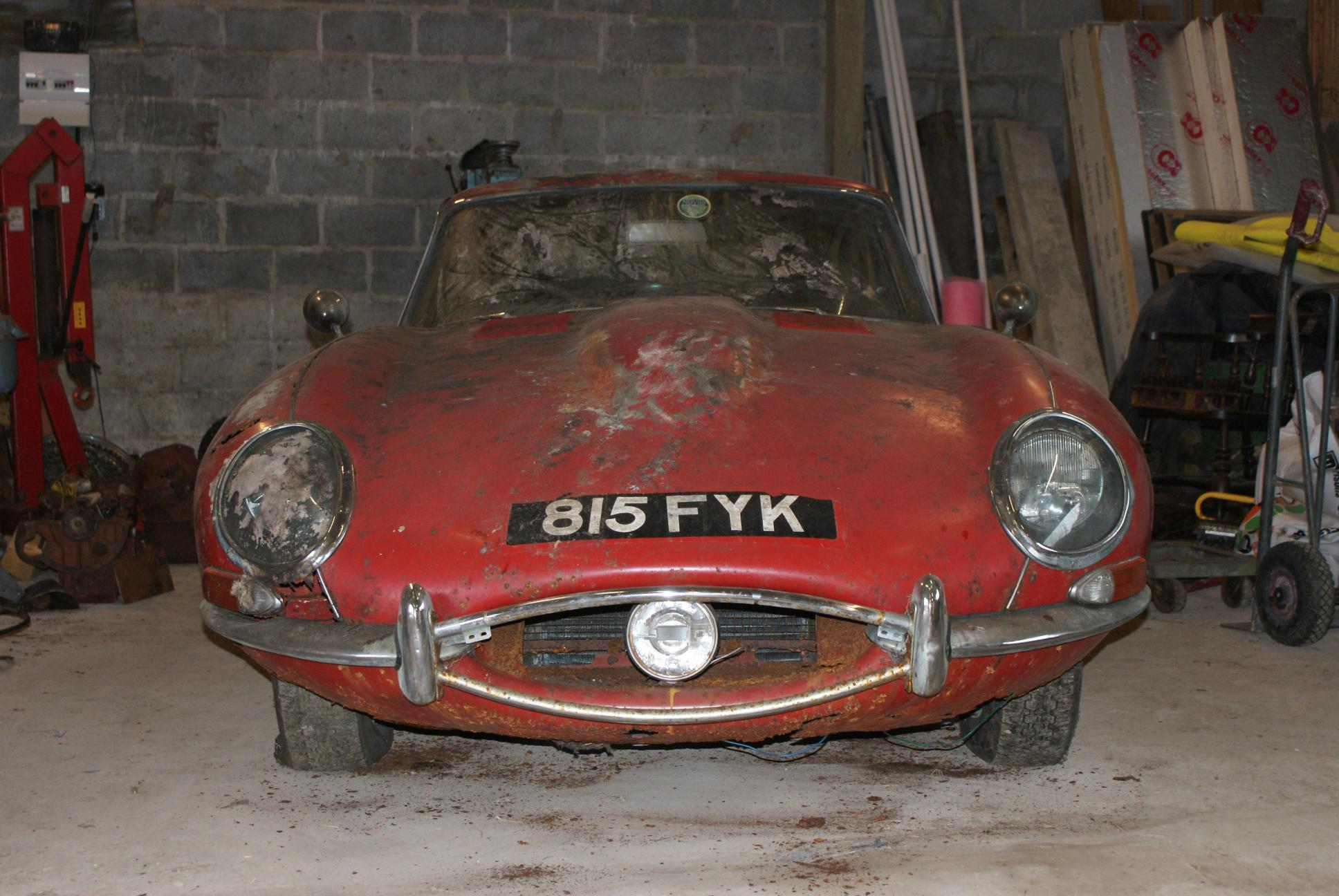 COYS 1963 Jaguar E Type Series 1 Fixed Head Coupe Found Under Hedge Auctioned