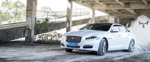 Jaguar XJ vs Drone in Cat and Mouse