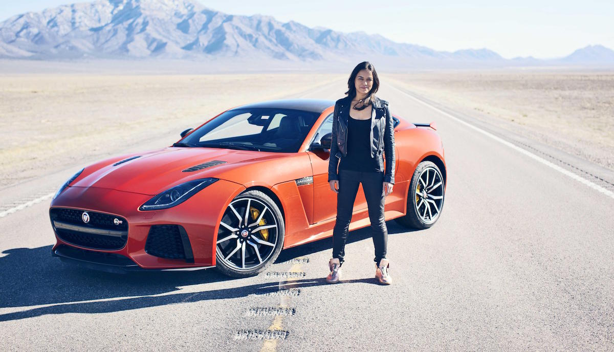 Michelle Rodriguez Goes 201 MPH in Jaguar F-TYPE SVR