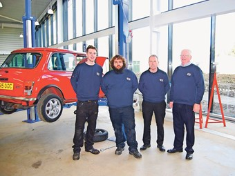 The British Motor Museum workshop team (left to right) Austin Dickson, Martin Brown, Paul Gilder, and Brian Norwood