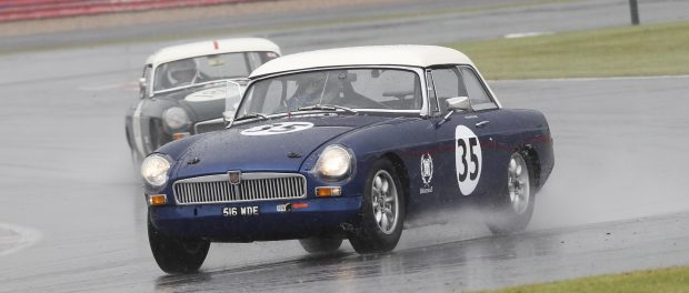 The BMH MGB leads the way through the rain