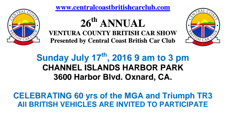 Ventura California Central Coast British Car Club 26th Annual Car Show