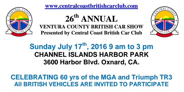 Ventura California Central Coast British Car Club 26th Annual Car Show