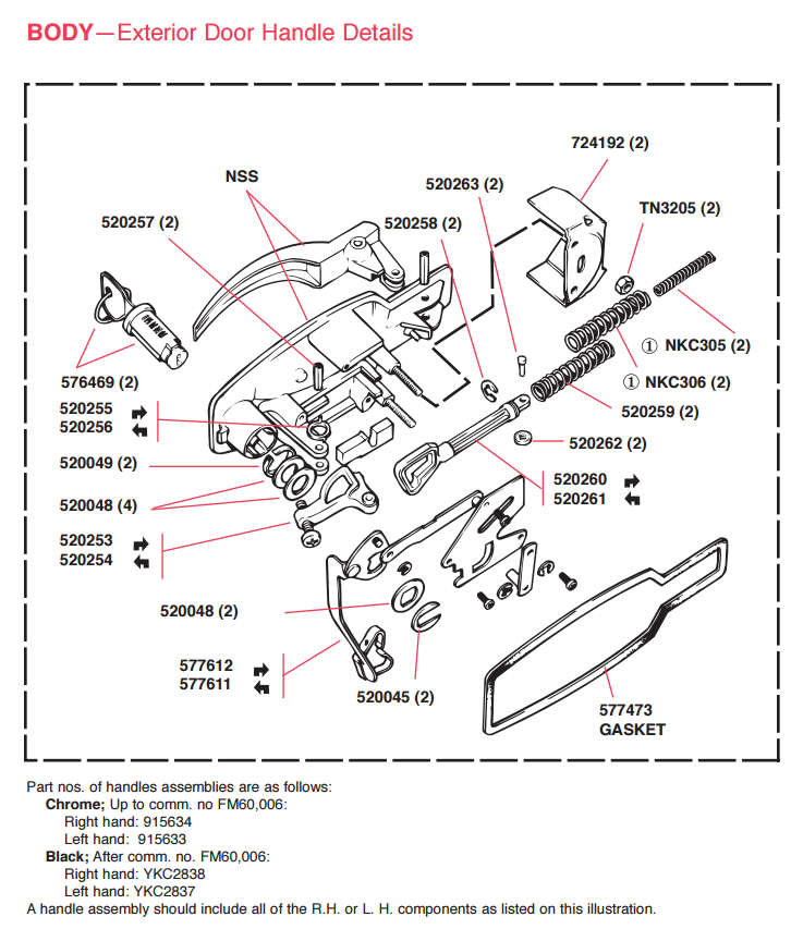 triumph spitfire door handle mechanism