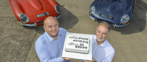 Tim Leese (CMC) and Stuart Cardwell (owner of the Coupe - car on the right) celebrate the reunion of the two E-Types (Ph Dick Barnatt)