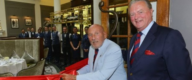Header Sir Stirling Moss OBE officially opens Stirling's at Woodcote Park with Royal Automobile Club Chairman Tom Purves