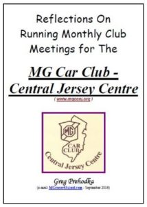 Reflections on Runing Monthly Club Meetings