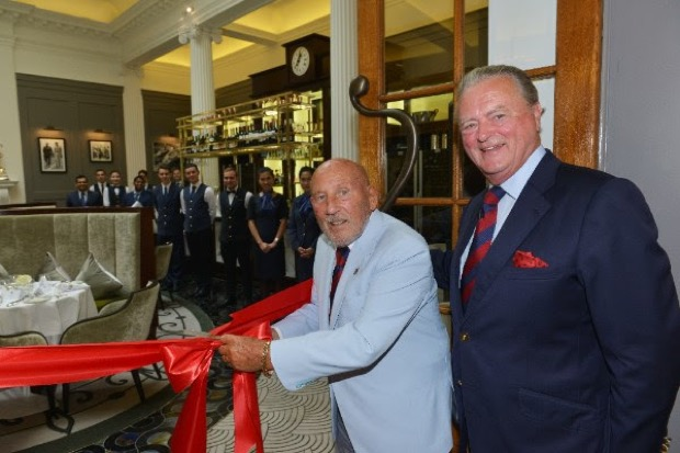 Sir Stirling Moss OBE officially opens Stirling's at Woodcote Park, with Royal Automobile Club Chairman, Tom Purves