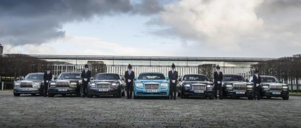 Rolls-Royce chauffeurs prepare for the Elephant Family Animal Ball
