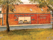Bill Toops watercolour painting of Burlen Services in Greencroft, Salisbury where it all began in 1971