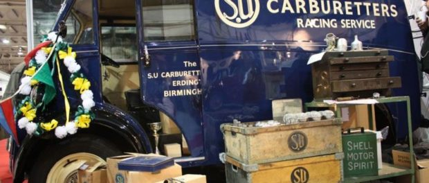 Burlen SU sign written 1954 Morris J Type and award winning stand at the 2011 Race Retro event