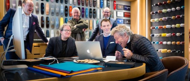 Roger Daltrey shares a joke with Rolls-Royce, Design Director Giles Taylor and Bespoke Designer Matt Danton