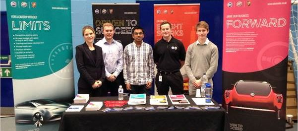 SAIC SMTC UK Recruitment specialist Sheree Molenaar (far left) with Damon Elson (second left) and fellow 201617 internship students at the recent Engineering Placement Fair at Bath University.