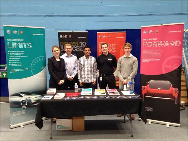 SMTC UK Recruitment specialist Sheree Molenaar (far left) with Damon Elson (second left) and fellow 201617 internship students at the recent Engineering Placement Fair at Bath University.