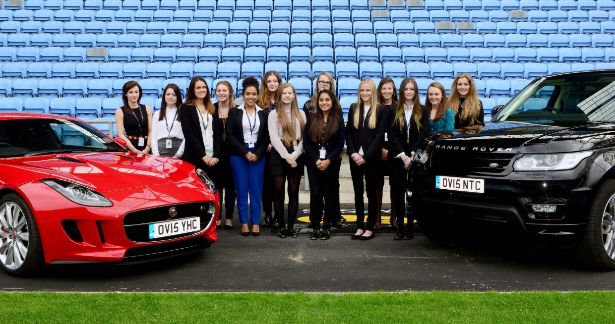 Young Women in the Know course celebrate the start of their JLR Apprenticeships