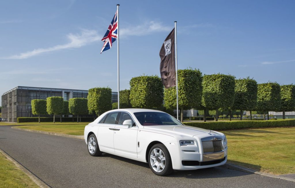 A white Ghost made for a client to mark the 50th anniversary of the state of Singapore photographed at Rolls-Royce Motor Cars, Goodwood, West Sussex.