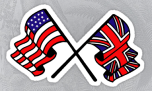 UK US Crossed Flag Sticker