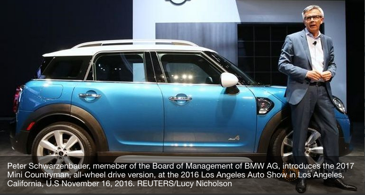 Built in Britain Not Essential to MINI Brand - Peter Schwarzenbauer, memeber of the Board of Management of BMW AG, introduces the 2017 Mini Countryman, all-wheel drive version, at the 2016 Los Angeles Auto Show in Los Angeles, California, U.S November 16, 2016. REUTERS/Lucy Nicholson