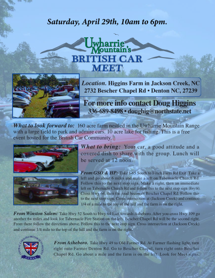 Uwharrie Mountains British Car Meet, NC