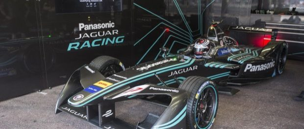 Adam Carroll in the Jaguar Garage - Panasonic Jaguar Racing in Monaco