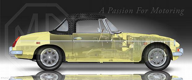 MGC Roadster Cutaway