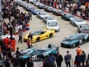 Jaguar XJ220s line up for anniversary track parade