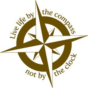 Live life by the compass, not by the clock - Compass Clock Small