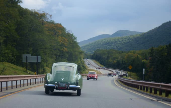 Natural beauty meets its man-made equivalent as the teams sweep up into Franconia Notch at the end of the first day of the British Reliability Run