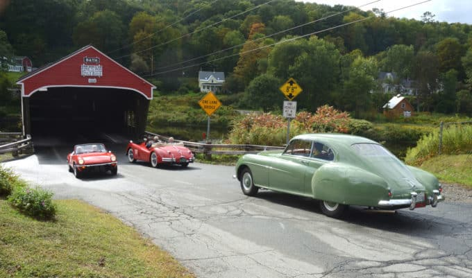 Teams take turns crossing the one-lane, 390-foot-long Bath Covered Bridge