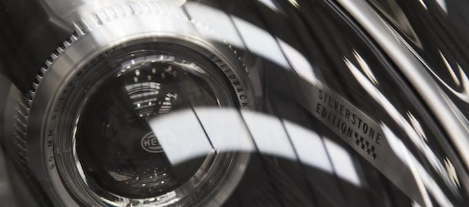 Speedback Silverstone Edition - Technical lens details and unique graphics in the dark ceramic headlamps of Speedback Silverstone Edition