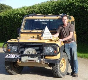 Bob Ives with the 1989 Camel Land Rover
