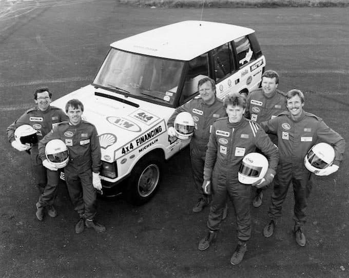 The victorious Range Rover drivers. L-R Mike Smith, John Faulkner, Colin Parkes, Jon Ward, John Woodward, and Pip Archer