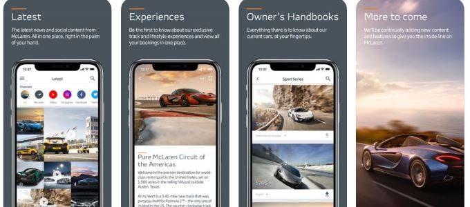 McLaren Automotive mobile app - Header