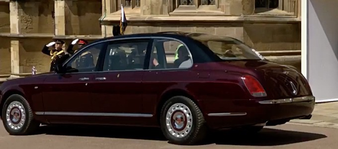 The Queen and The Duke of Edinburgh arrive at St George's Chapel in the Queen's Bentley
