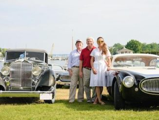1934 Packard Convertible Victoria of Judge Joseph and Margie Cassini III and 1952 Cunningham C-3 of Joseph Robillard. Photo by Bryan McCarthy of Bearded Mug Media