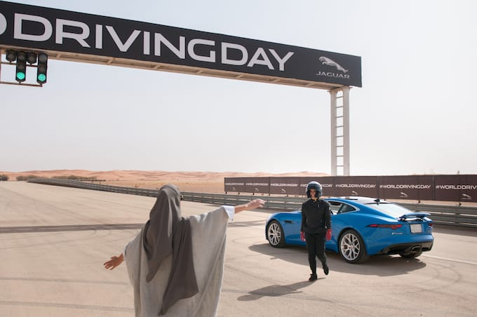 Female racing driver Aseel Al Hamad celebrated the end of the ban on women drivers with a lap of honour in a Jaguar F-TYPE 2