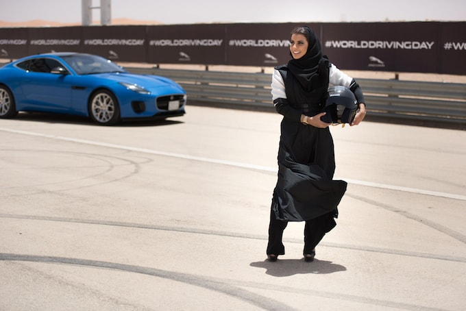 Female racing driver Aseel Al Hamad celebrated the end of the ban on women drivers with a lap of honour in a Jaguar F-TYPE