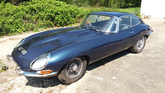 Jaguar E-Type Blue at Barons' Auction