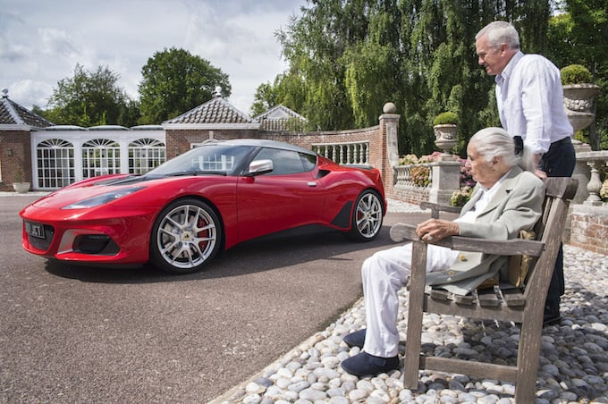 Hazel Chapman and son Clive inspect the Jim Clark Trust special edition Evora GT410 Sport
