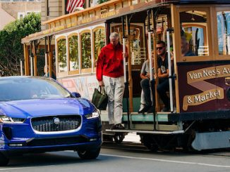 Jaguar Announces US I-PACE Marketing Campaign - blue vehicle cable car