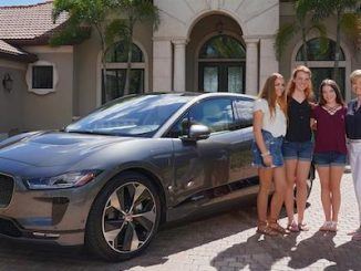 Mark and Holly Pascarella of Lakewood Ranch, Florida, take delivery of the first Jaguar I-PACE to be retailed in North America