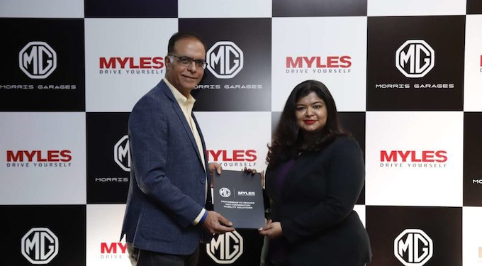 Rajeev Chaba, President and Managing Director MG Motor India with Sakshi Vij Founder and CEO of Myles