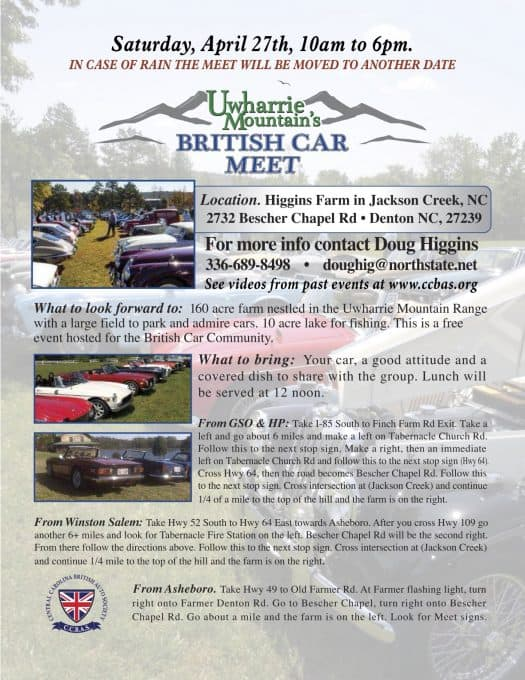 Uwharrie Mountain British Car Meet – North Carolina
